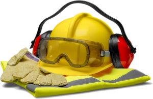 yellow hard hat, eye protection, ear protection, gloves and high visibility vest
