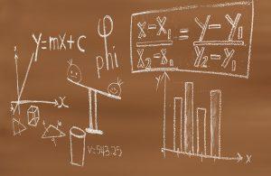 algebra problems written on  a chalkboard